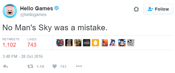Hello Games Tweets No Man's Sky a Mistake, maybe hacked?